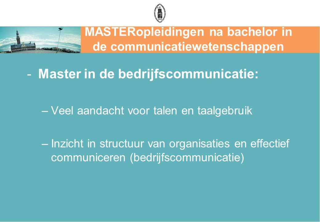 MASTERopleidingen na bachelor in de communicatiewetenschappen