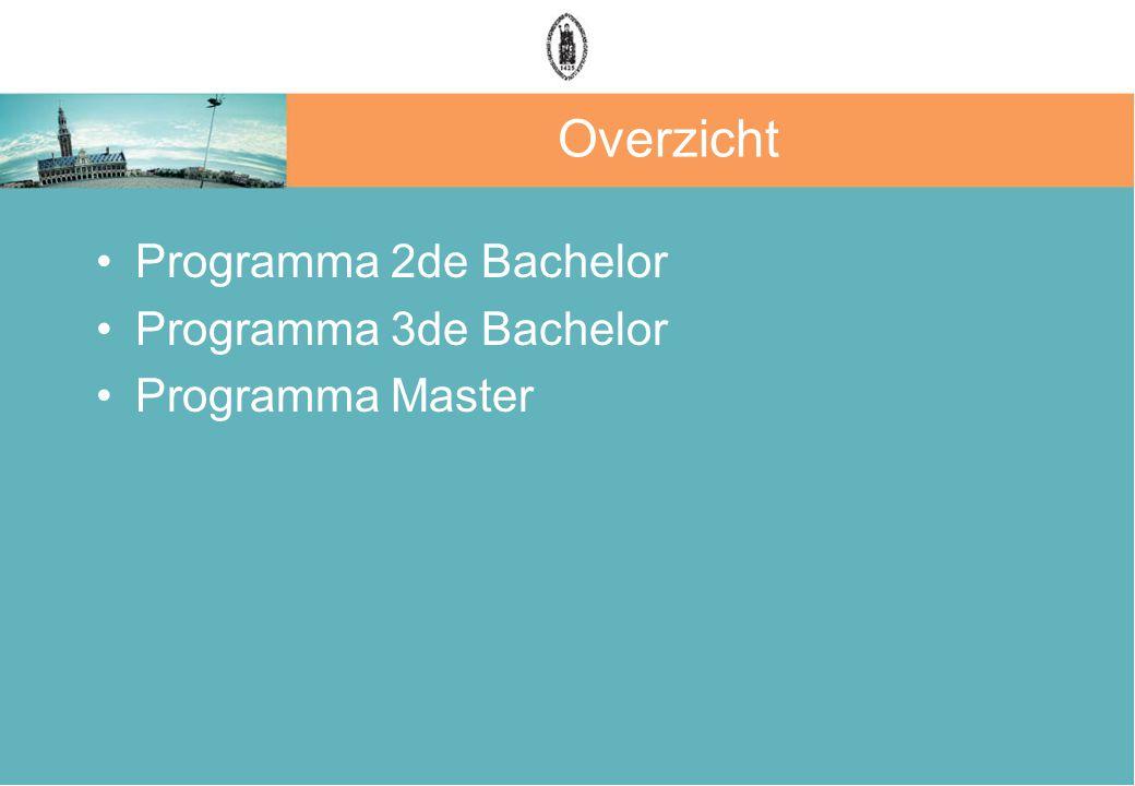 Overzicht Programma 2de Bachelor Programma 3de Bachelor