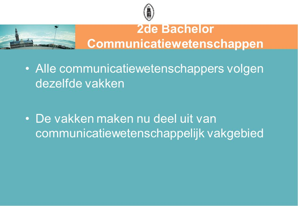 2de Bachelor Communicatiewetenschappen