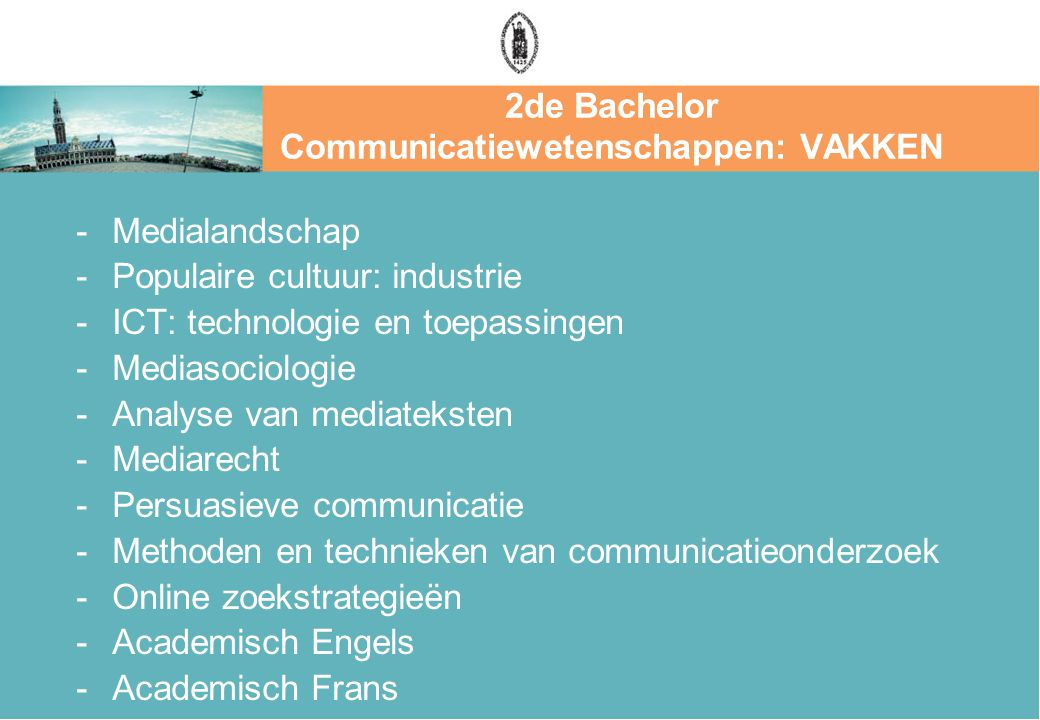 2de Bachelor Communicatiewetenschappen: VAKKEN