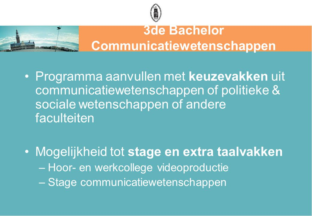 3de Bachelor Communicatiewetenschappen