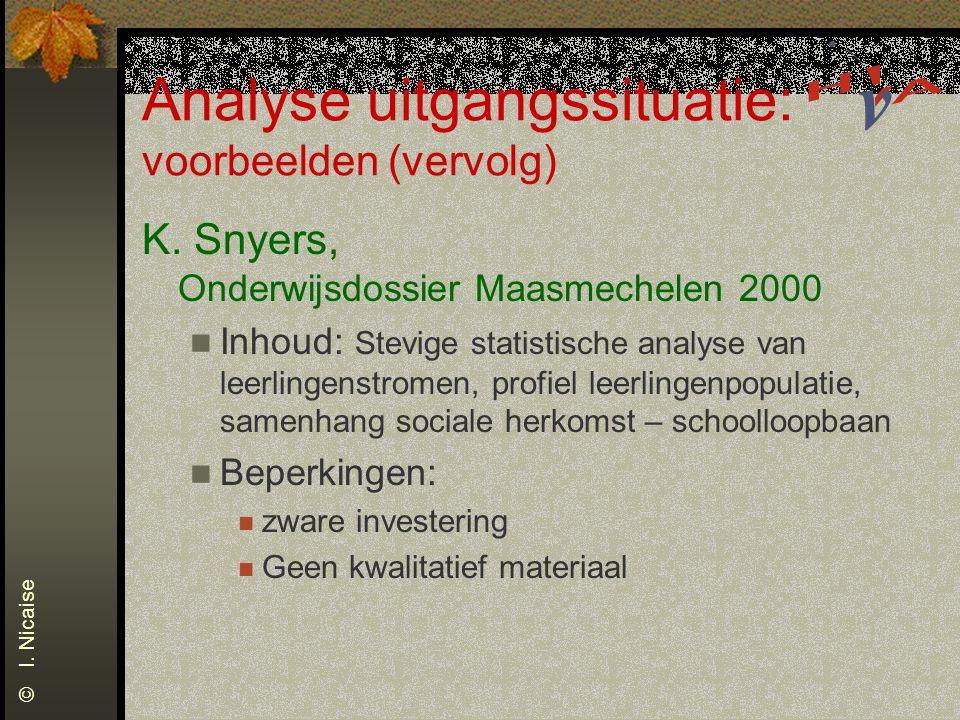 Analyse uitgangssituatie: voorbeelden (vervolg)
