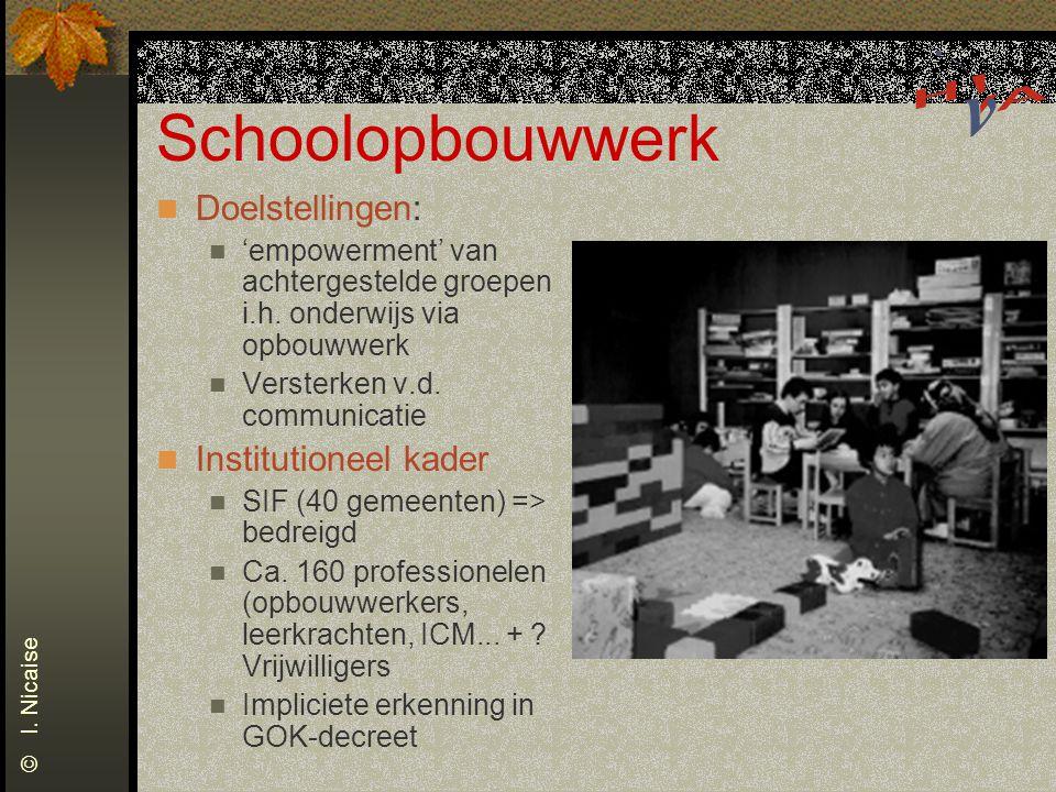 Schoolopbouwwerk Doelstellingen: Institutioneel kader
