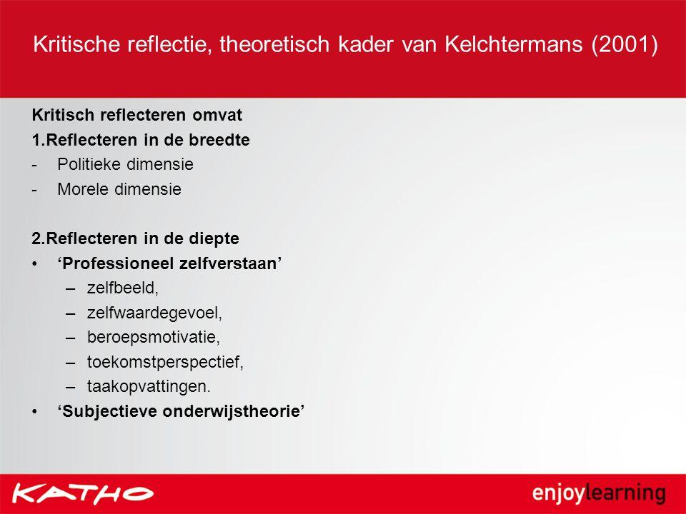 Kritische reflectie, theoretisch kader van Kelchtermans (2001)