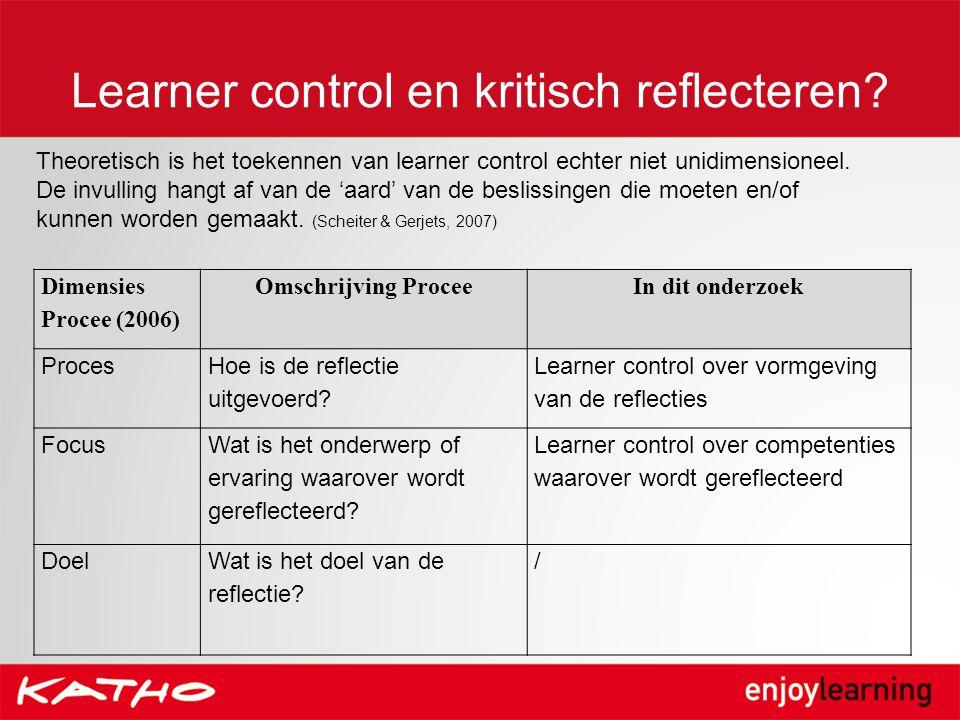 Learner control en kritisch reflecteren