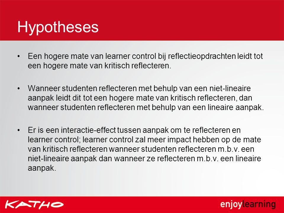 Hypotheses Een hogere mate van learner control bij reflectieopdrachten leidt tot een hogere mate van kritisch reflecteren.