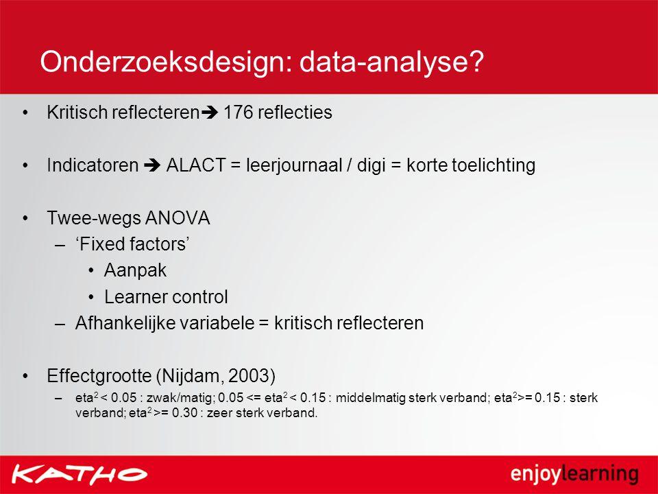 Onderzoeksdesign: data-analyse