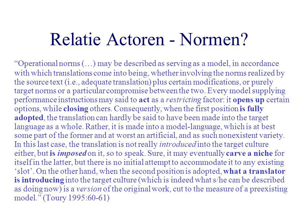 Relatie Actoren - Normen