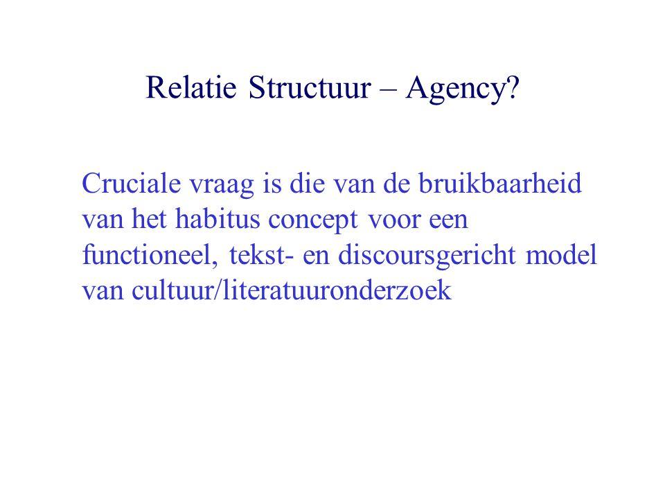 Relatie Structuur – Agency