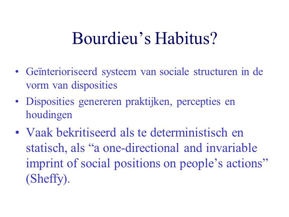 Bourdieu's Habitus Geïnterioriseerd systeem van sociale structuren in de vorm van disposities.