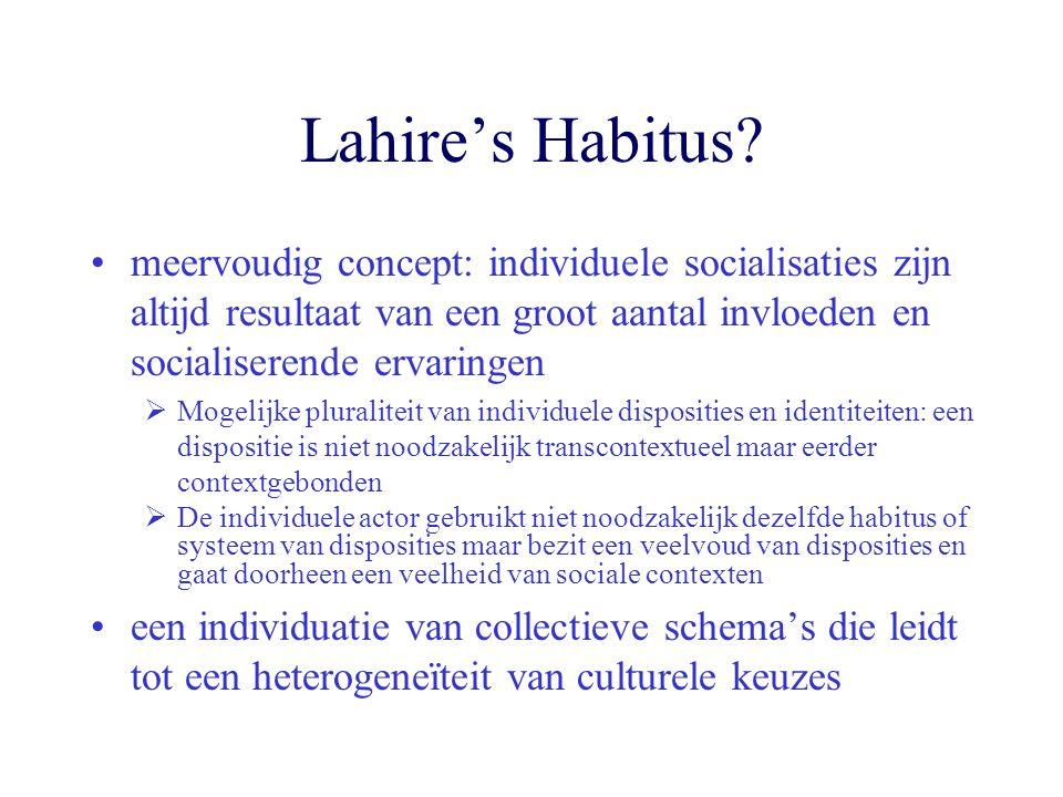Lahire's Habitus meervoudig concept: individuele socialisaties zijn altijd resultaat van een groot aantal invloeden en socialiserende ervaringen.