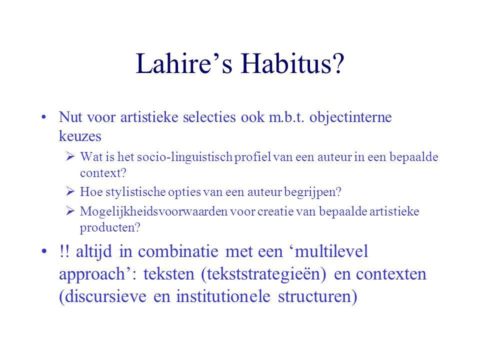 Lahire's Habitus Nut voor artistieke selecties ook m.b.t. objectinterne keuzes.