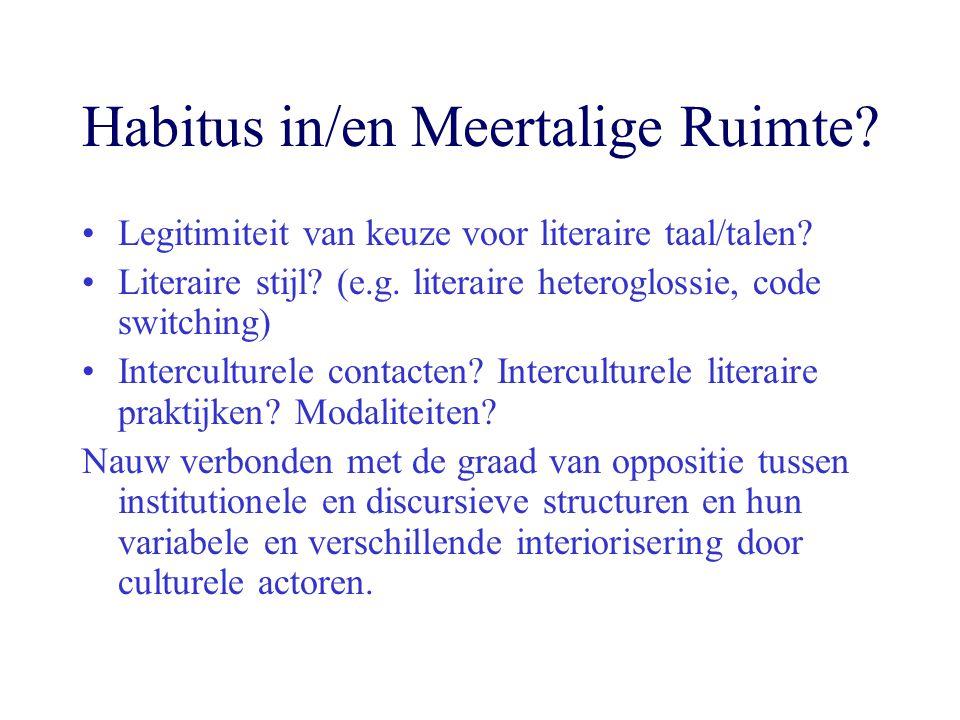 Habitus in/en Meertalige Ruimte