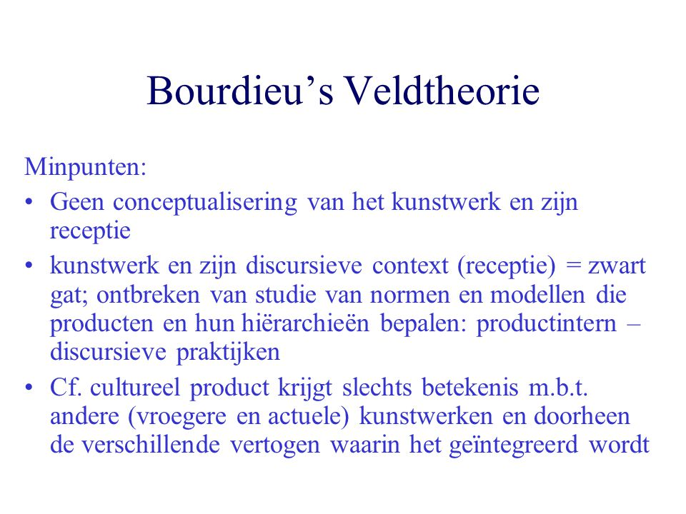 Bourdieu's Veldtheorie