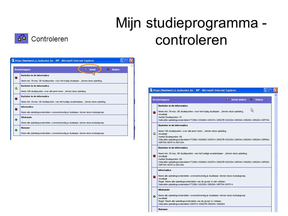 Mijn studieprogramma - controleren