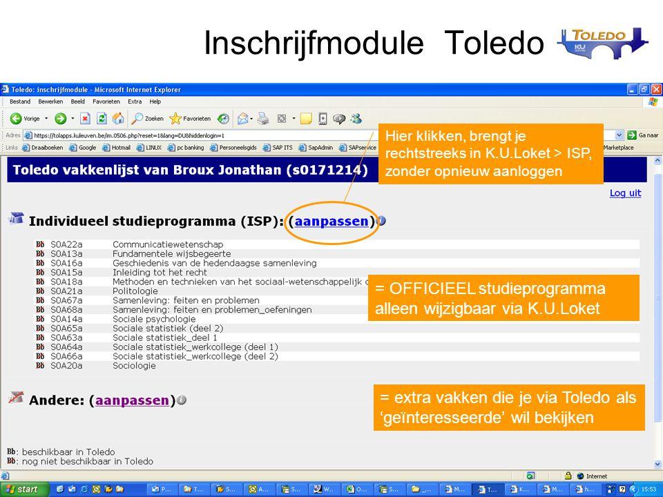 Inschrijfmodule Toledo
