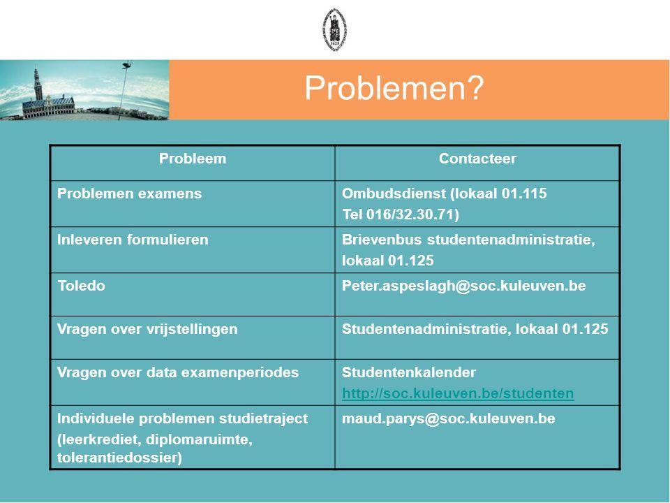 Problemen Probleem Contacteer Problemen examens