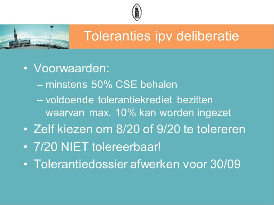 Toleranties ipv deliberatie