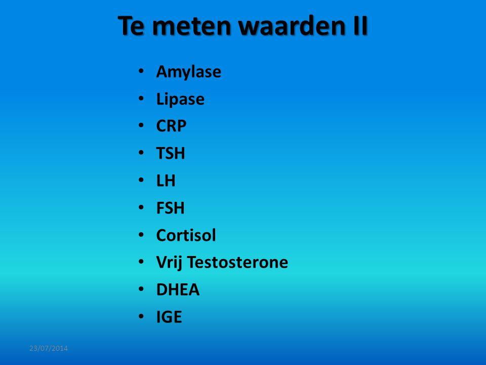 Te meten waarden II Amylase Lipase CRP TSH LH FSH Cortisol