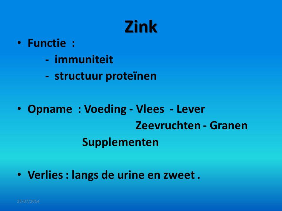 Zink Functie : - immuniteit - structuur proteïnen