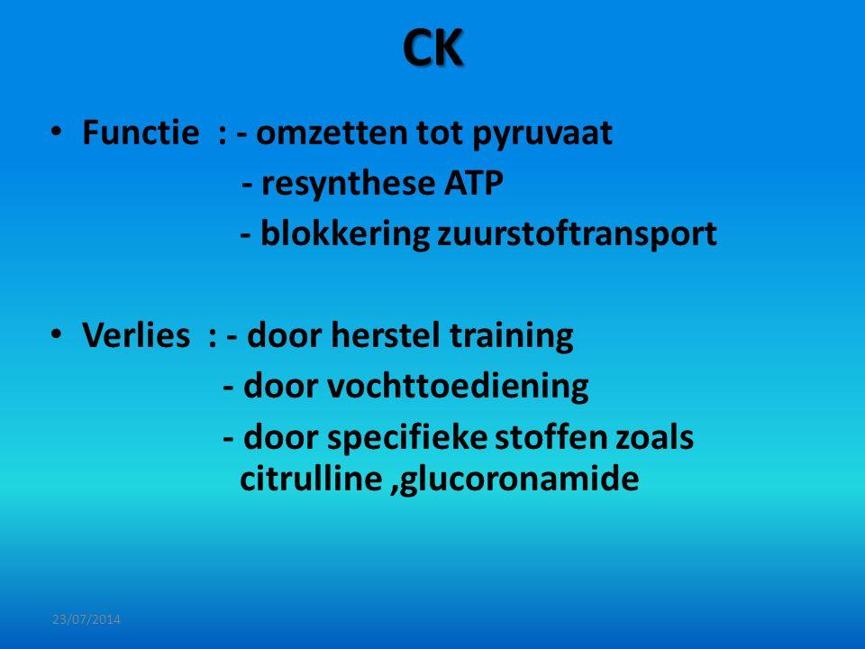 CK Functie : - omzetten tot pyruvaat - resynthese ATP