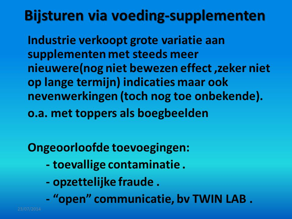 Bijsturen via voeding-supplementen