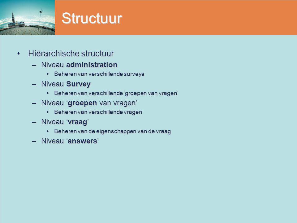 Structuur Hiërarchische structuur Niveau administration Niveau Survey