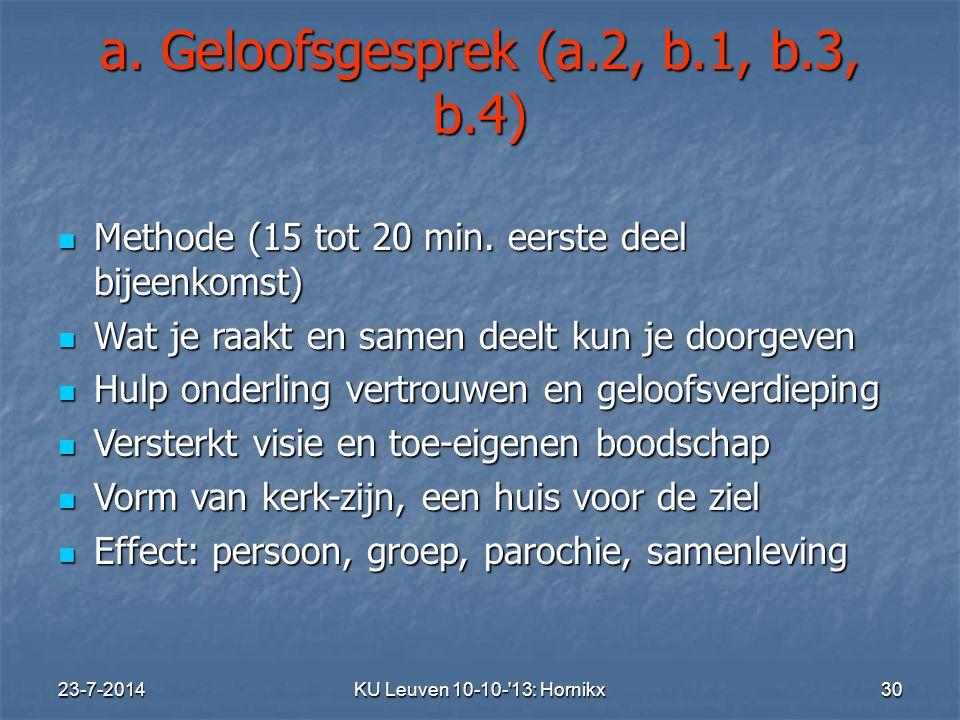 a. Geloofsgesprek (a.2, b.1, b.3, b.4)