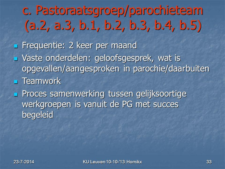 c. Pastoraatsgroep/parochieteam (a.2, a.3, b.1, b.2, b.3, b.4, b.5)