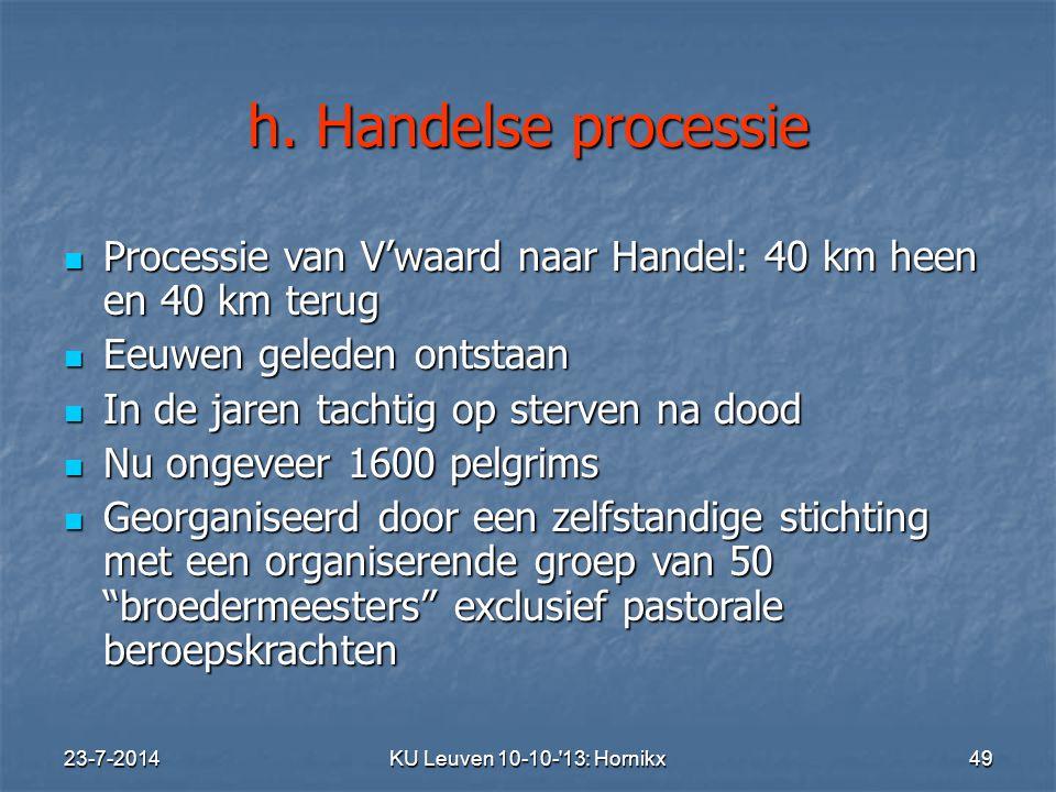 h. Handelse processie Processie van V'waard naar Handel: 40 km heen en 40 km terug. Eeuwen geleden ontstaan.