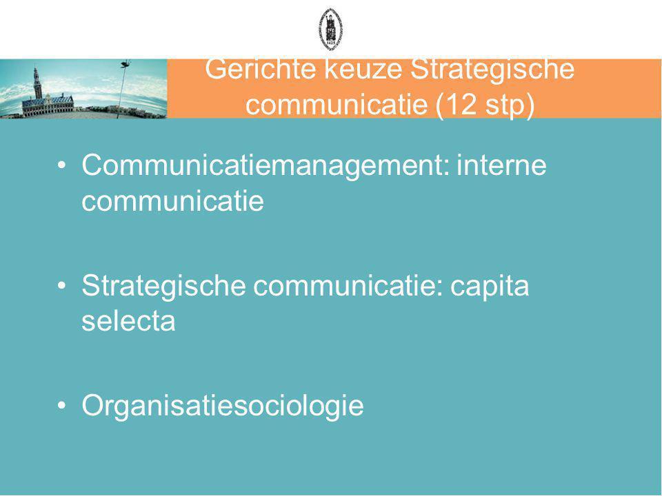 Gerichte keuze Strategische communicatie (12 stp)