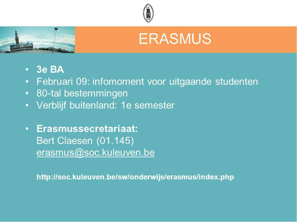 ERASMUS 3e BA Februari 09: infomoment voor uitgaande studenten