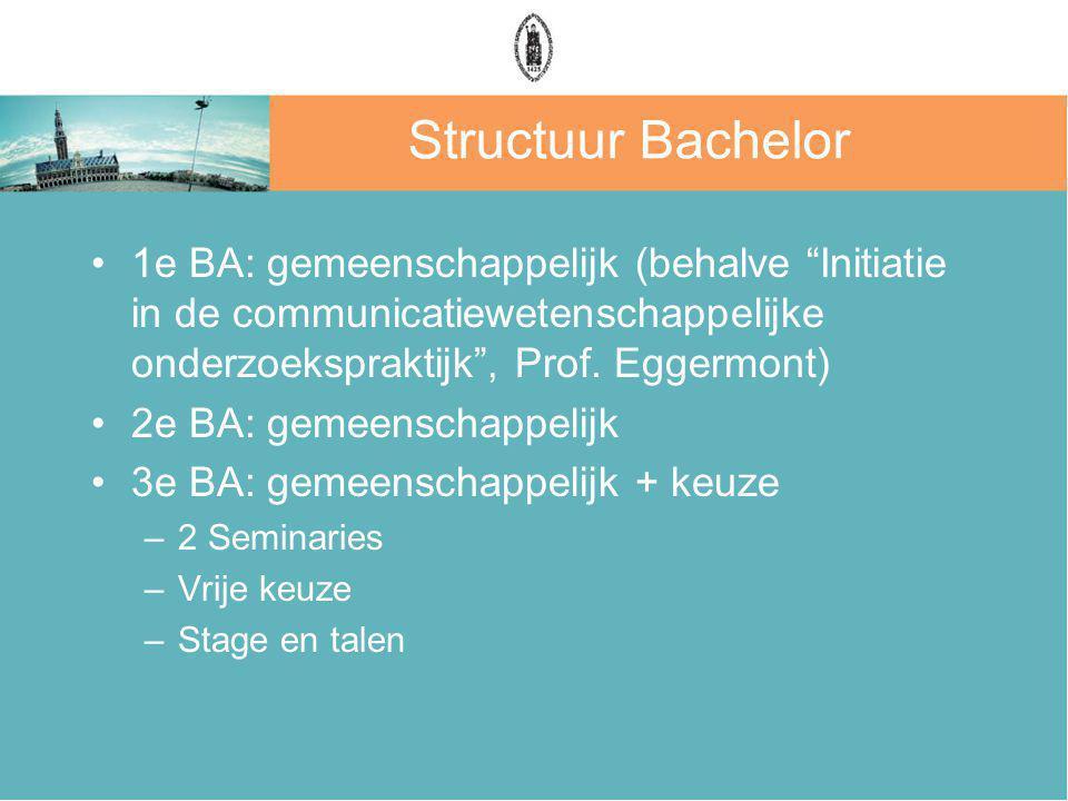 Structuur Bachelor 1e BA: gemeenschappelijk (behalve Initiatie in de communicatiewetenschappelijke onderzoekspraktijk , Prof. Eggermont)