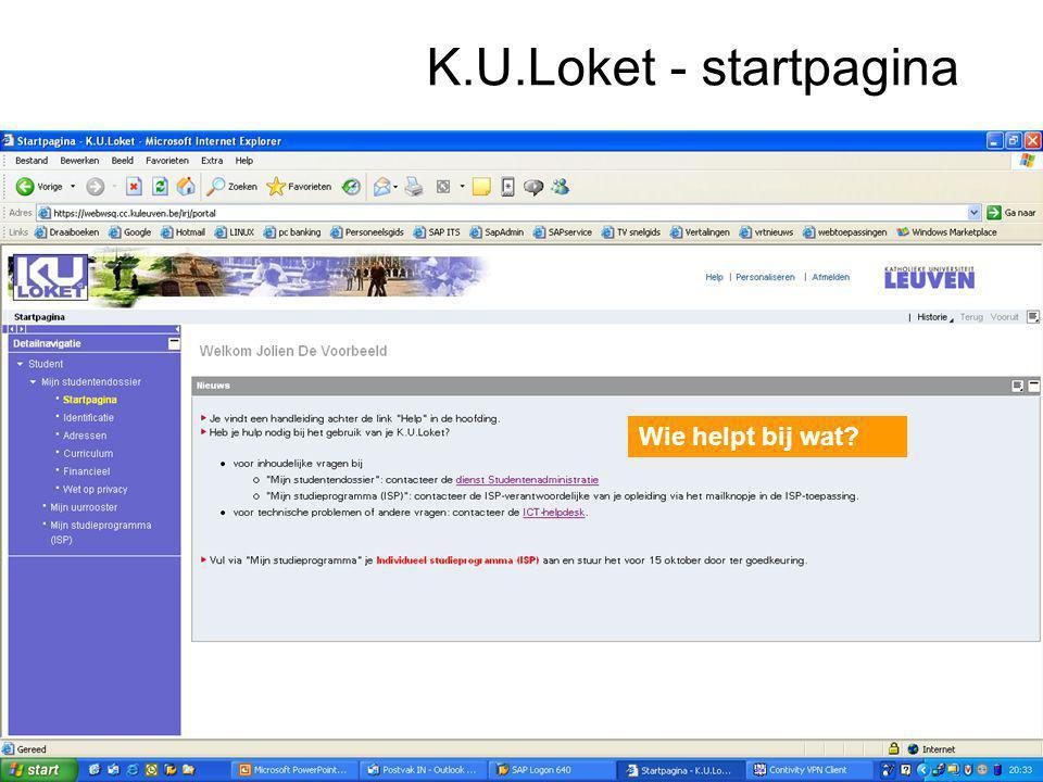 K.U.Loket - startpagina Wie helpt bij wat
