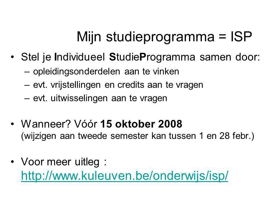 Mijn studieprogramma = ISP