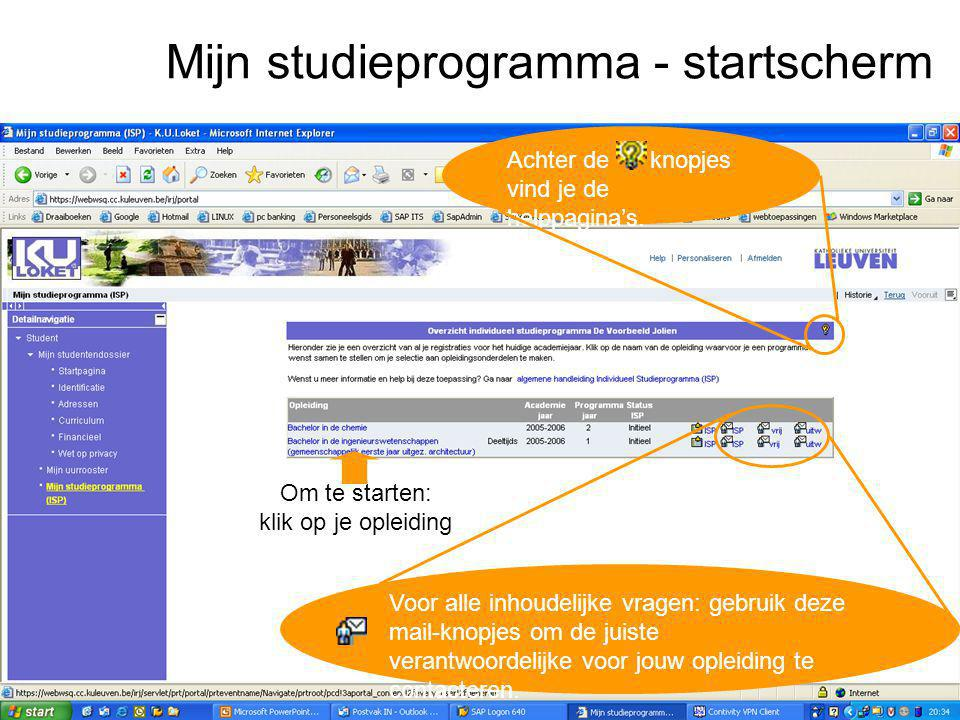 Mijn studieprogramma - startscherm