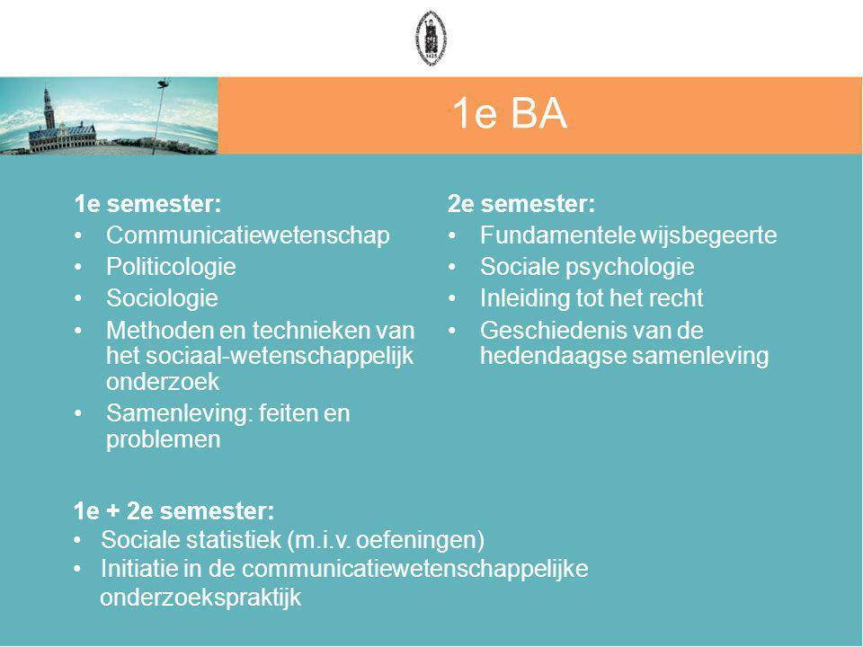 1e BA 1e semester: Communicatiewetenschap Politicologie Sociologie