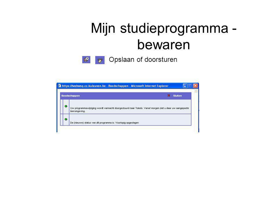 Mijn studieprogramma - bewaren