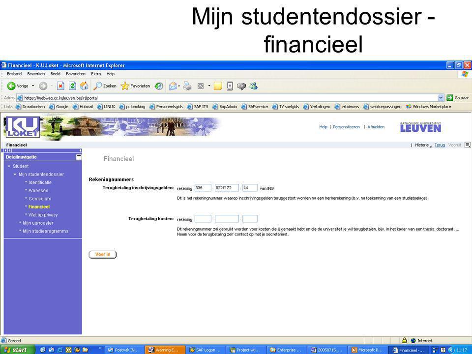 Mijn studentendossier - financieel