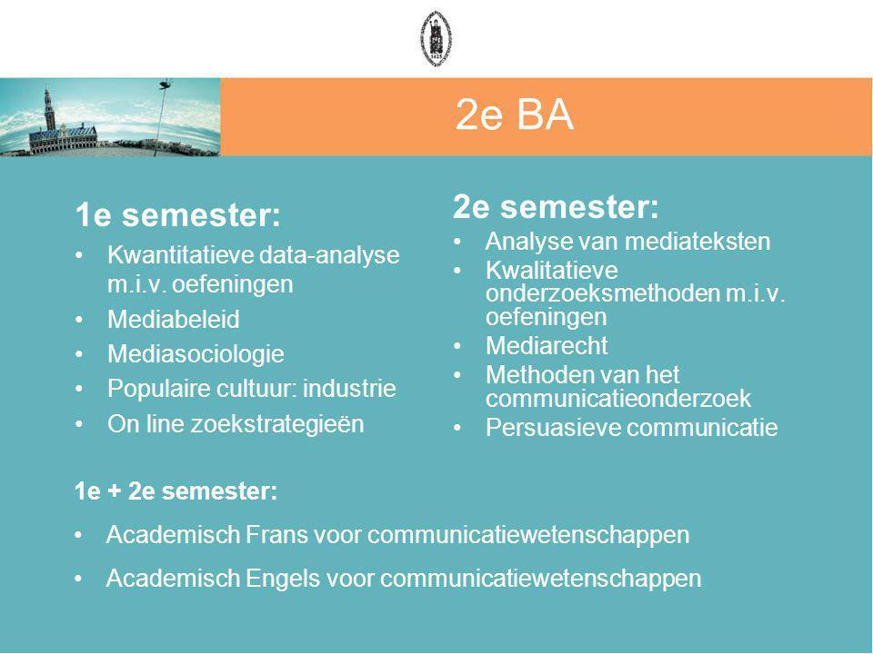 2e BA 1e semester: 2e semester: Analyse van mediateksten