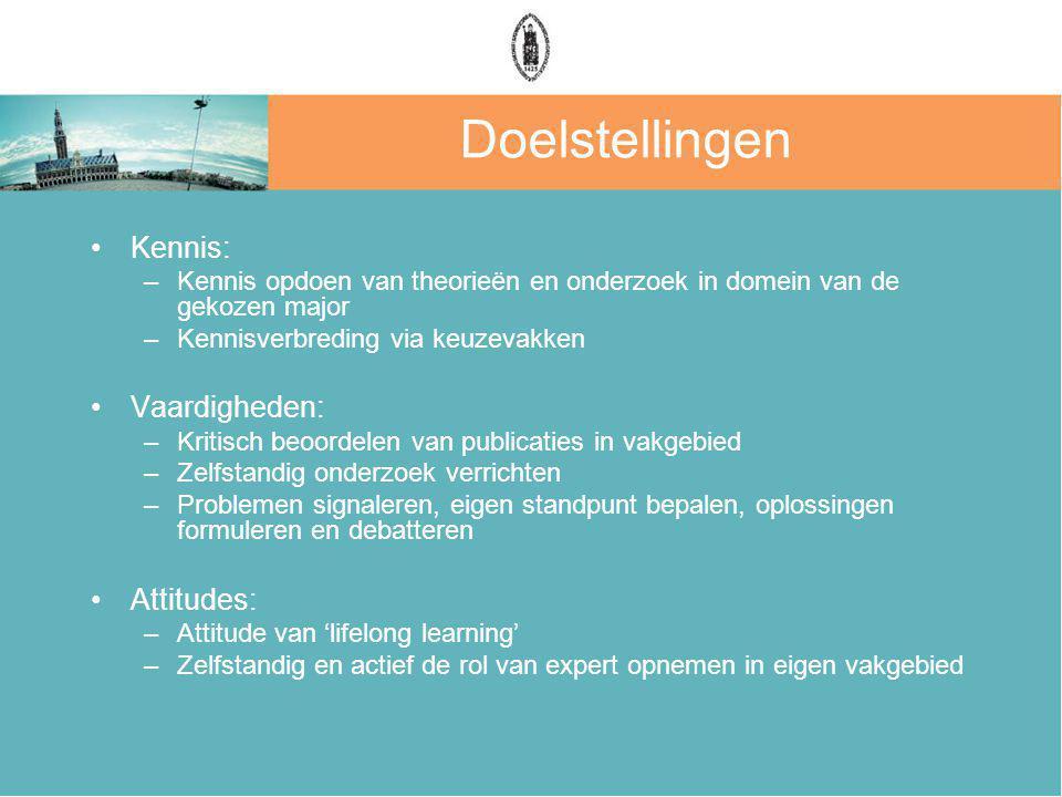 Doelstellingen Kennis: Vaardigheden: Attitudes: