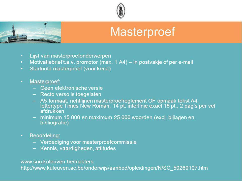 Masterproef Lijst van masterproefonderwerpen
