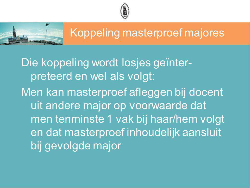 Koppeling masterproef majores