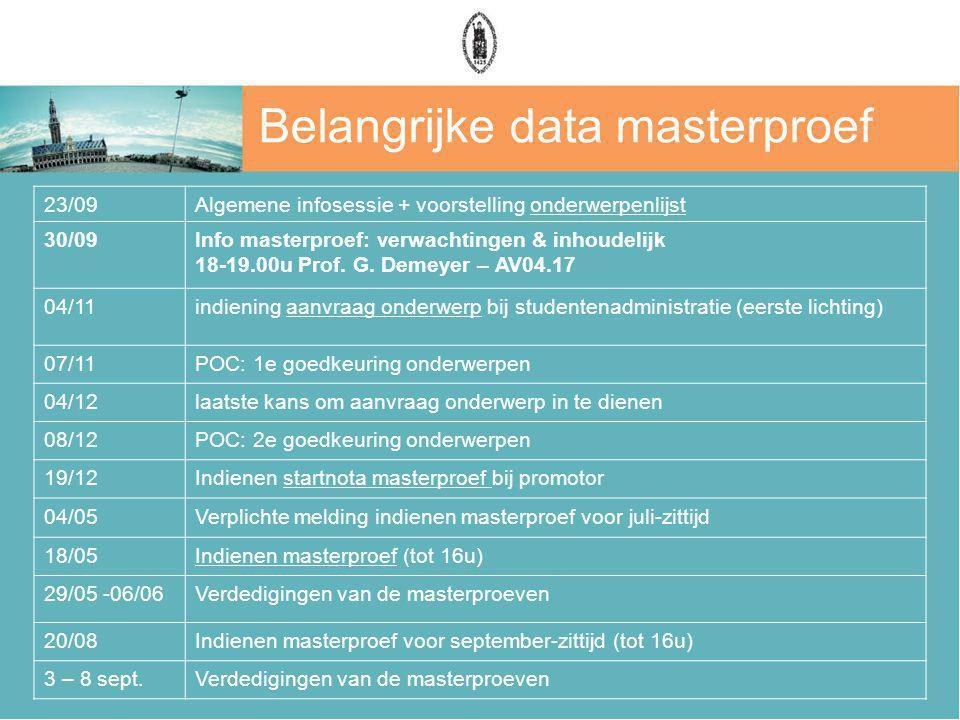 Belangrijke data masterproef