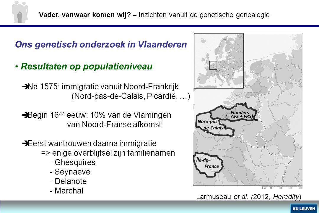 Ons genetisch onderzoek in Vlaanderen