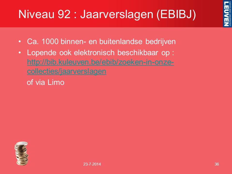 Niveau 92 : Jaarverslagen (EBIBJ)
