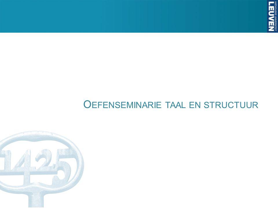 Oefenseminarie taal en structuur