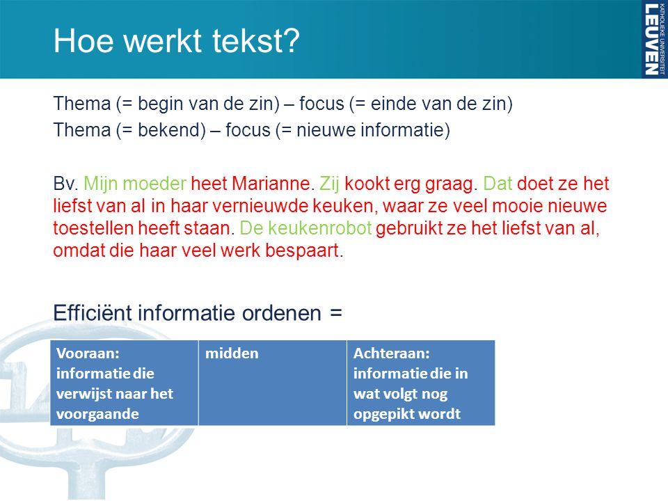 Hoe werkt tekst Efficiënt informatie ordenen =