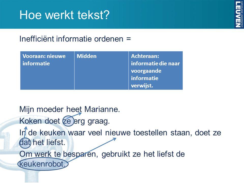 Hoe werkt tekst Inefficiënt informatie ordenen =