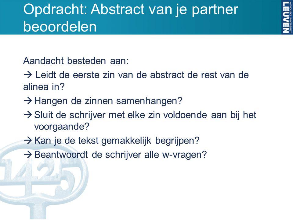 Opdracht: Abstract van je partner beoordelen